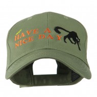 Have a Nice Day Halloween Cat Embroidered Cap - Olive