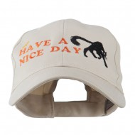 Have a Nice Day Halloween Cat Embroidered Cap - Stone