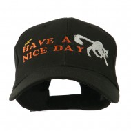 Have a Nice Day Halloween Cat Embroidered Cap - Black