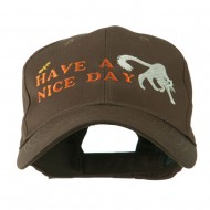 Have a Nice Day Halloween Cat Embroidered Cap - Brown