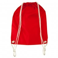 Nylon Drawstring Solid Color Backpack - Red
