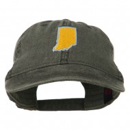 Indiana State Map Embroidered Washed Cotton Cap - Black