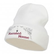 Halloween Haunted House Embroidered Beanie - White