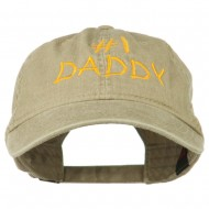 Number One Daddy Embroidered Washed Cotton Cap - Khaki