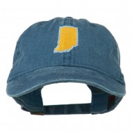 Indiana State Map Embroidered Washed Cotton Cap - Navy