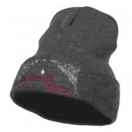 Halloween Haunted House Embroidered Beanie - Dk Grey