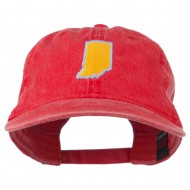 Indiana State Map Embroidered Washed Cotton Cap - Red
