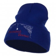 Halloween Haunted House Embroidered Beanie - Royal