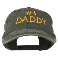 Number One Daddy Embroidered Washed Cotton Cap - Black
