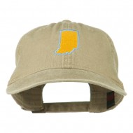 Indiana State Map Embroidered Washed Cotton Cap - Khaki
