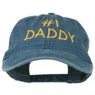 Number One Daddy Embroidered Washed Cotton Cap - Navy