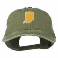 Indiana State Map Embroidered Washed Cotton Cap - Olive Green