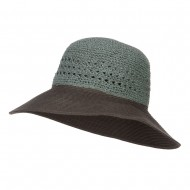 Women's Two Tone Paper Braid Hat - Teal Coffee