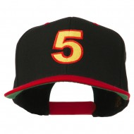 Arial Number 5 Embroidered Classic Two Tone Cap - Black Red