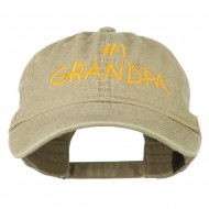 Number 1 Grandpa Letters Embroidered Washed Cotton Cap - Khaki