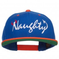 Naughty Devil Embroidered Two Tone Snapback - Royal Orange