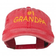 Number 1 Grandpa Letters Embroidered Washed Cotton Cap - Red