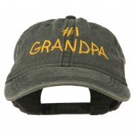 Number 1 Grandpa Letters Embroidered Washed Cotton Cap - Black