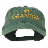 Number 1 Grandpa Letters Embroidered Washed Cotton Cap - Dark Green