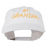 Number 1 Grandpa Letters Embroidered Washed Cotton Cap - White
