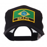 North and South America Flag Letter Patched Mesh Cap - Brazil