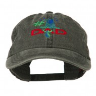 Number 1 Dad with Necktie Embroidered Washed Cap - Black