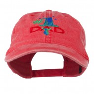 Number 1 Dad with Necktie Embroidered Washed Cap - Red