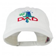 Number 1 Dad with Necktie Embroidered Washed Cap - White