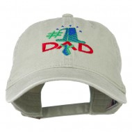 Number 1 Dad with Necktie Embroidered Washed Cap - Stone Grey