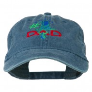 Number 1 Dad with Necktie Embroidered Washed Cap - Navy