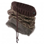 Nordic Neck Warmer with Faux Fur - Brown Khaki