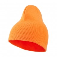 Neon Acrylic Short Beanie - Orange