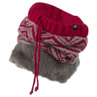 Nordic Neck Warmer with Faux Fur - Burgundy Grey