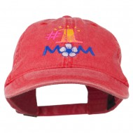 Number 1 Mom Embroidered Washed Cap - Red