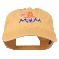Number 1 Mom Embroidered Washed Cap - Yellow