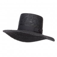 Women's Straw Braid Top Sun Hat - Black