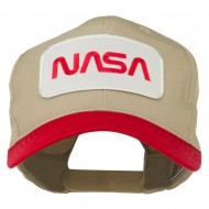 NASA Patched Two Tone Pro Style Cap - Red Khaki