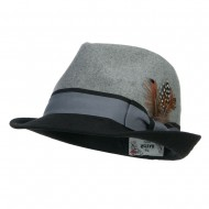 Two Tone Fedora with Feather - Grey