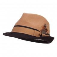 Two Tone Fedora with Feather - Camel