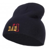 Number 1 Dad Outline Embroidered Short Beanie - Navy