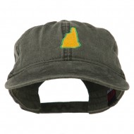 New Hampshire State Map Embroidered Washed Cotton Cap - Black