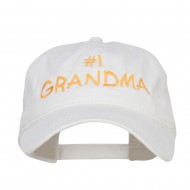 Number One Grandma Embroidered Washed Cap - White