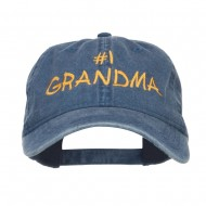 Number One Grandma Embroidered Washed Cap - Navy