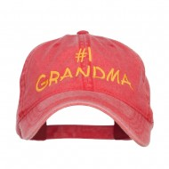 Number One Grandma Embroidered Washed Cap - Red