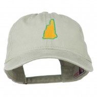 New Hampshire State Map Embroidered Washed Cotton Cap - Stone