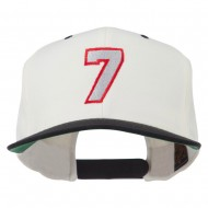 Number 7 Embroidered Classic Two Tone Snapback Cap - Natural Black