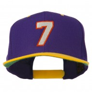 Number 7 Embroidered Classic Two Tone Snapback Cap - Purple Gold