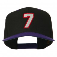Number 7 Embroidered Classic Two Tone Snapback Cap - Black Purple