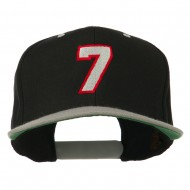 Number 7 Embroidered Classic Two Tone Snapback Cap - Black Silver