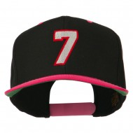 Number 7 Embroidered Classic Two Tone Snapback Cap - Black Pink
